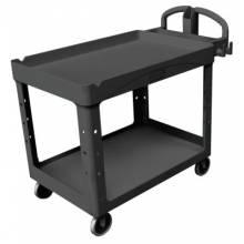 Rubbermaid Commercial 4546-BLA Hd Lipped 2-Shelf Utility Cart Large
