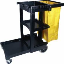 Rubbermaid Commercial 6173-88-BLA Black Janitor Cart W/Zippered Yellow Vinyl Bag