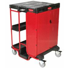 Rubbermaid Commercial 9T58 Black 500 Lb Capacity Ladder Cart With Cabinet