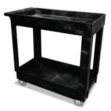 Rubbermaid Commercial 9T66 2 Shelf Utility Cart Black 300 Lb Capacity
