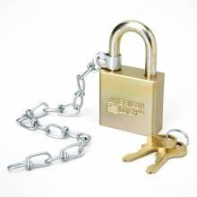 AbilityOne 5340015881010 SKILCRAFT Solid Steel Case Padlock w/Chain - Boron Steel Case - Steel Gray