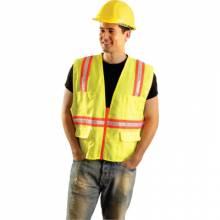 Occunomix LUX-XTRANS-OL Non-Ansi Vest Solid Tripletrim Zipper Or L