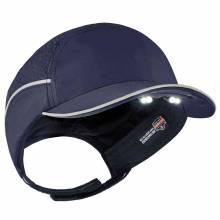 Skullerz 8965 Short Brim Navy Lightweight Bump Cap Hat w/ LED Lighting