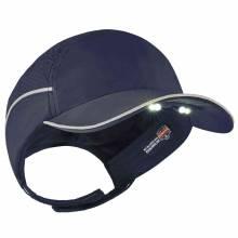 Skullerz 8965 Long Brim Navy Lightweight Bump Cap Hat w/ LED Lighting