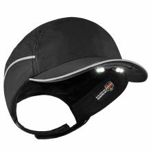 Skullerz 8965 Short Brim Black Lightweight Bump Cap Hat w/ LED Lighting