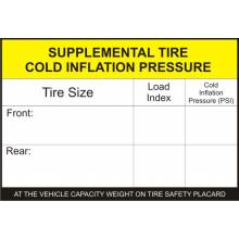 """Placard Labels (25 per roll); """"Supplemental Tire Cold Inflation"""" label"""