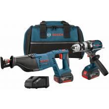 BOSCH CLPK203-181 18V 2-Tool Kit w/ Brute Tough™ Hammer Drill Driver (HDH181X), Recip & (2) FatPacks (4.0Ah)