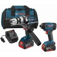 BOSCH CLPK222-181 18V 2-Tool Kit w/ Brute Tough™ Hammer Drill Driver (HDH181X), Impact Driver (25618) & (2) FatPacks (4.0Ah)