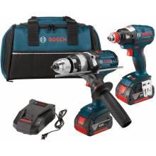 BOSCH CLPK224-181 18V 2-Tool Kit w/ Brute Tough™ Hammer Drill Driver (HDH181X), Impact Driver (IDH) & (2) FatPacks (4.0Ah)