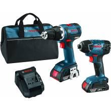 BOSCH CLPK233-181 18V 2-Tool Kit w/ Compact Tough™ Drill Driver (DDS182), Impact Driver (IDH182) & (2) SlimPacks (2.0Ah)