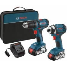 BOSCH CLPK26-181 18V 2-Tool Kit w/ Compact Drill/Driver (DDB181), Impact Driver (IDS181) & (2) SlimPacks (1.5Ah)