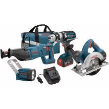BOSCH CLPK402-181 18V 4-Tool Kit w/ Brute Tough™ Hammer Drill Driver (HDH181X), Recip, Circ, FL & (2) FatPacks (4.0Ah)