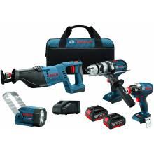 BOSCH CLPK414-181 18V 4-Tool Kit w/ Brute Tough Hammer Drill Driver (HDH181X), Socket Ready Impact Driver (IDH182), Recip, Flashlight & (2) FatPacks (4.0Ah)