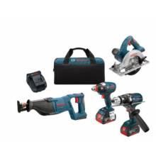 BOSCH CLPK430-181 18V 4-Tool Kit w/ Brute Tough™ Drill Driver (DDH181X), Impact Driver (IDH182), Recip, Circ & (2) FatPacks (4.0Ah)