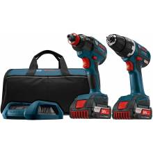 BOSCH CLPK233WC-02 18V 2-Tool Kit w/ Compact Tough Drill Driver (DDS182), Impact Driver (IDH182), (2) Wireless Charge SlimPack Batteries (2.0Ah) Charger & Frame