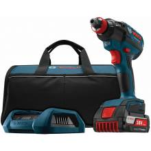 BOSCH IDH182WC-101 18V Brushless Socket Ready Impact Driver, Charger, Frame & Wireless Charge FatPack Battery (4.0Ah)