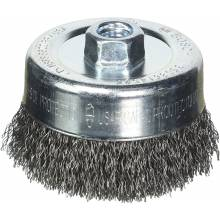 """BOSCH WB525 4"""" Cup Brush, Crimped, Carbon Steel,  5/8"""" x 11"""" Arbor"""