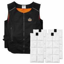 Chill-Its 6260 L/XL Black Lightweight Phase Change Cooling Vest with Packs