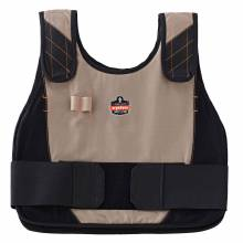 Chill-Its 6225 S/M Khaki Premium FR Phase Change Cooling Vest - Vest Only