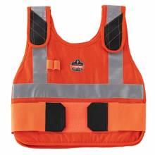 Chill-Its 6225 S/M Orange Premium FR Phase Change Cooling Vest - Vest Only