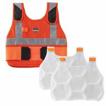 Chill-Its 6215 S/M Orange Premium FR Phase Change Cooling Vest with Packs