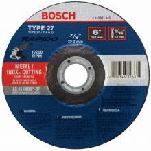 BOSCH TCW27S600 6 x 1/16 x 7/8 Type 27 Thin Cutting Disc AS46INOX-BF for Stainless/Metal  (Bulk)