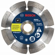 "BOSCH VG441 4"" x 7/8-5/8"" segmented v-groove diamond blade for general purpose"
