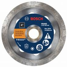 "BOSCH VG442 4"" x 7/8-5/8"" turbo v-groove diamond blade for general purpose"