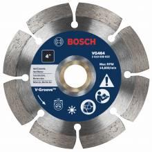 """BOSCH VG464 4"""" x 7/8-5/8"""" segmented v-groove diamond blade for hard material"""