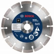 """BOSCH VG764 7"""" x 7/8"""" segmented v-groove diamond blade for hard material"""