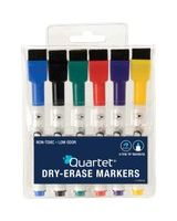 Quartet® ReWritables® Mini Dry-Erase Markers - Fine Point Type - Black, Red, Green, Blue, Purple, Yellow - 6 / Set