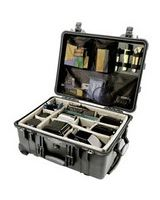 """Pelican 1560 Shipping Box with Foam - Internal Dimensions: 22.06"""" Length x 17.93"""" Width x 10.43"""" Depth - External Dimensions: 20.4"""" Length x 15.4"""" Width x 9"""" Depth - Double Throw Latch Closure - Black - For Multipurpose"""