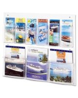 "Safco Clear2c Magazine/Pamphlet Display - 9 Compartment(s) - Compartment Size 7"" x 2"" x 9.12"" - 23.5"" Height x 28"" Width x 3"" Depth - Wall Mountable - Clear - Polycarbonate, Polyethylene - 1Each"