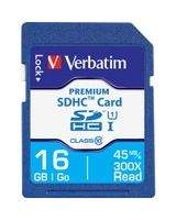 Verbatim 16GB Premium SDHC Memory Card, UHS-I Class 10 - Class 10 - 1 Card/1 Pack - 133x Memory Speed