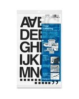 "Chartpak Vinyl Helvetica Style Letters/Numbers - 10 Numbers, 35 Capital Letter, Symbols - Self-adhesive - 1.50"" Height - Black - Vinyl - 1 / Pack"
