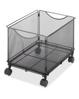 "Safco Onyx 5211BL Mesh Rolling File Cube - 4 Casters - 1.50"" Caster Size - Steel - 13.5"" Width x 16.8"" Depth x 13"" Height - Black"