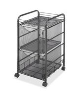 "Safco Onyx Double Mesh Mobile File Cart - 2 Shelf - 2 Drawer - 4 Casters - 1.50"" Caster Size - 15.8"" Width x 17"" Depth x 27"" Height - Black Steel Frame - Black"