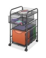 "Safco Onyx Mesh File Cart - 2 Shelf - 3 Drawer - 4 Casters - 1.50"" Caster Size - Steel - 15.8"" Width x 17"" Depth x 27"" Height - Steel Frame - Black"