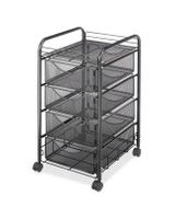 "Safco Onyx Double Mesh Mobile File Cart - 2 Shelf - 4 Drawer - 4 Casters - 1.50"" Caster Size - 15.8"" Width x 17"" Depth x 27"" Height - Black Steel Frame - Black"