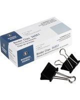 "Business Source Binder Clip - Medium - 1.3"" Width - 0.63"" Size Capacity - 1 Pack - Black - Steel"