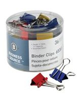 "Business Source Binder Clip - Small - 0.8"" Width - 0.37"" Size Capacity - 36 Pack - Assorted - Steel"