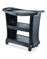 "Rubbermaid 9T68 Executive Service Cart - 3 Shelf - 300 lb Capacity - Plastic - 38.9"" Length x 20.3"" Width - Black"