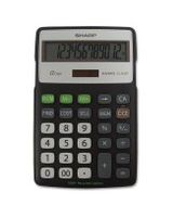 "Sharp ELR287 Recycled Calculator - 12 Digits - LCD - Battery/Solar Powered - 0.6"" x 4.3"" x 6.9"" - Black, Silver - 1 Each"
