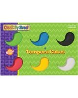 ChenilleKraft Tempera Cake - 6 / Set - Red, Yellow, Blue, Green, White, Black