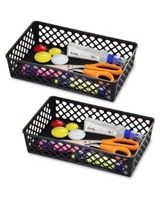 OIC Large Supply Storage Basket - Black - Plastic