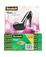 "Scotch Magic Tape Value Pack with C30 1"" Core Designer Desktop Tape Shoe Dispenser - 0.75"" Width x 83.33 ft Length - 1"" Core - Writable Surface, Permanent Adhesive - Dispenser Included - Black Desktop Dispenser - 12 / Pack - Matte Clear"