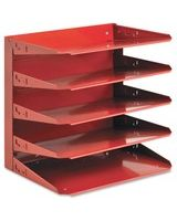 "MMF 5 -Tier Letter-Size Horizontal Organizer - 5 Tier(s) - 12.1"" Height x 12"" Width x 8.8"" Depth - Desktop, Wall Mountable - Recycled - Red - Steel - 1Each"