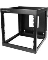 "StarTech.com 12U 22in Depth Hinged Open Frame Wall Mount Server Rack - 19"" 12U Wide Wall Mountable - Black - Cold-rolled Steel (CRS) - 140 lb x Maximum Weight Capacity"