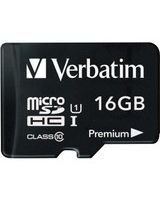 Verbatim 16GB Premium microSDHC Memory Card with Adapter, UHS-I Class 10 - Class 10 - 1 Card/1 Pack