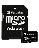 Verbatim 64GB Premium microSDXC Memory Card with Adapter, UHS-I Class 10 - UHS-1/Class 10 - 1pk